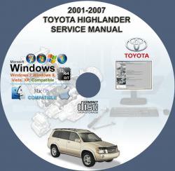 Toyota Highlander 2001 2007 Service Repair Manual On Cd 01