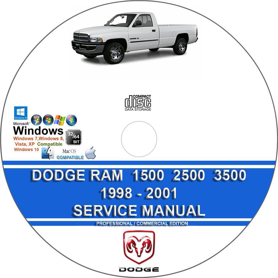 Dodge Ram 1500 2500 3500 1998 1999 2000 2001 Service Repair Manual On Dvd