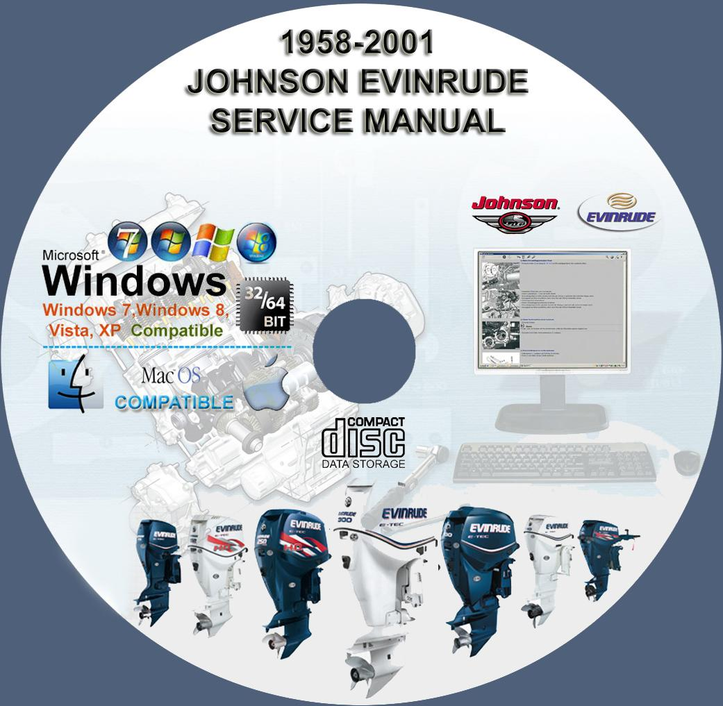 Johnson Evinrude Outboard Manual 1958-2001 1-300 Hp On CD