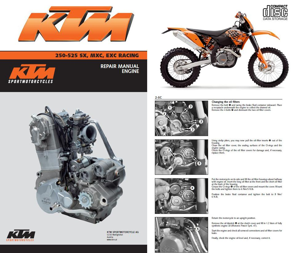 Ktm 250 400 450 520 525 Sx Mxc Exc Racing Service Repair