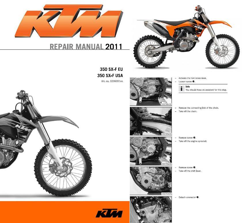 ktm 350 sx f eu 350 sx f usa service repair manual cd 2011