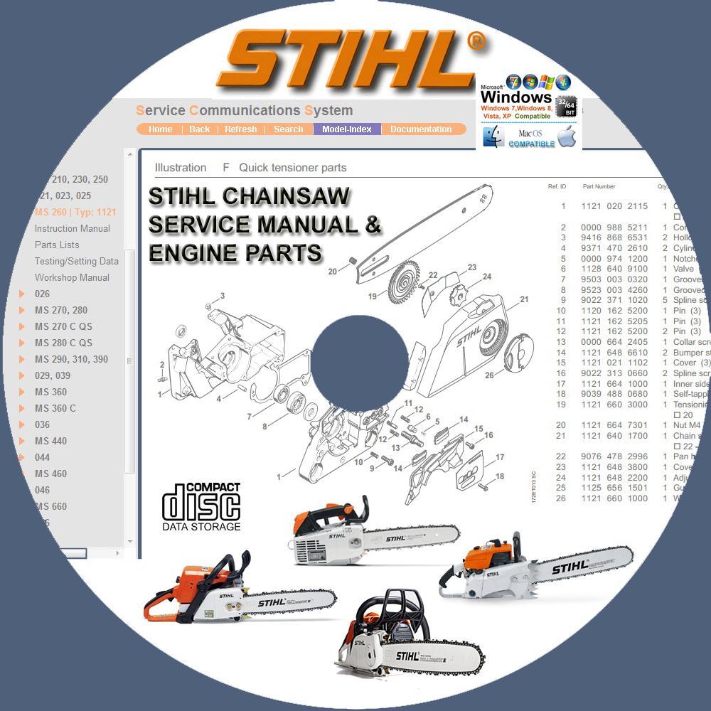 Stihl Construction Equipment Bt45 Bt120c Ts350 Ts400 Ts460 Ts510 360 Engine Diagram Chainsaw Service Repair Manuals Parts Catalog On Cd