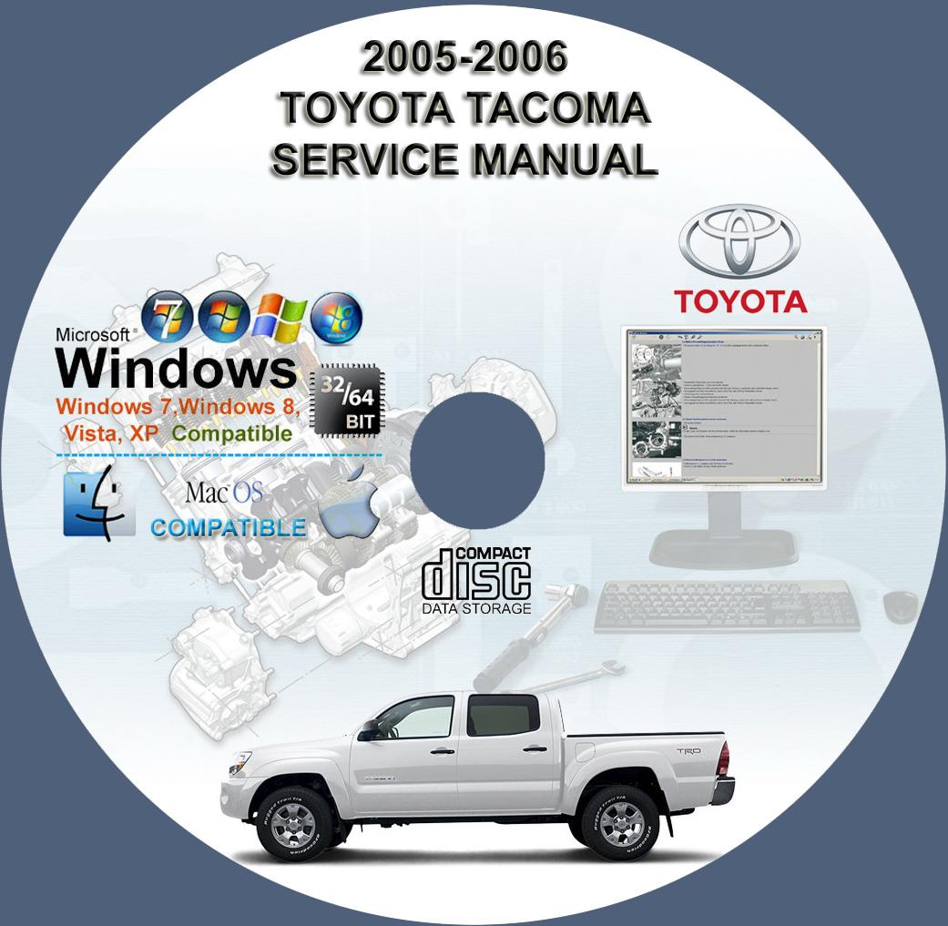 toyota tacoma factory service repair manual on cd 2005 2006 www rh servicemanualforsale com 2004 toyota tacoma service manual pdf 2005 toyota tacoma prerunner service manual