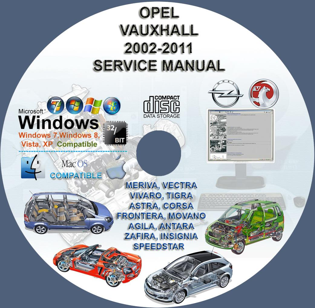 vauxhall opel 2002-2011 service repair manual dvd astra, frontera b, corsa  combo